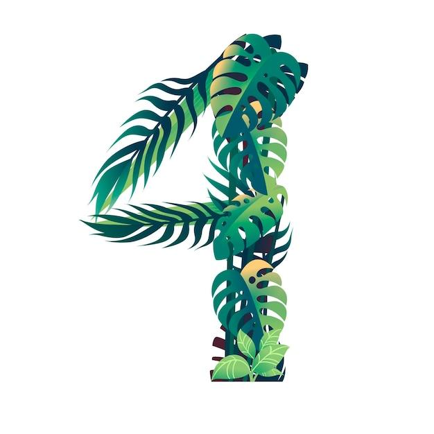 Foglia numero 4 con diversi tipi di foglie verdi e fogliame in stile cartone animato piatto vettoriale illustrazione isolato su sfondo bianco.