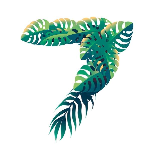 Foglia numero 7 con diversi tipi di foglie verdi e fogliame in stile cartone animato piatto vettoriale illustrazione isolato su sfondo bianco.