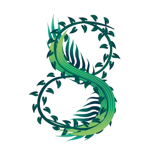 Foglia numero 8 con diversi tipi di foglie verdi e fogliame stile fumetto design piatto illustrazione vettoriale isolato su sfondo bianco.