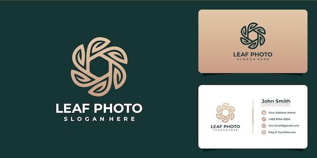 Design del logo e biglietto da visita con fotografia foglia