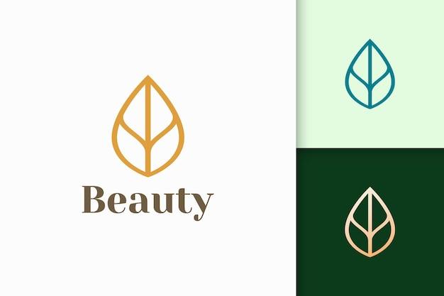 Logo di foglie o piante a forma di linea semplice per spa o attività di bellezza