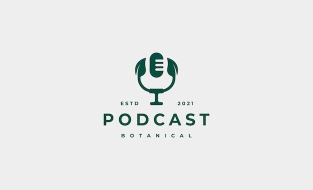 Illustrazione di progettazione di logo di podcast foglia