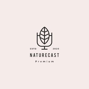 Icona d'annata retro dei pantaloni a vita bassa di logo del podcast della foglia per la trasmissione radiofonica del canale di rassegna del vlog del video della natura