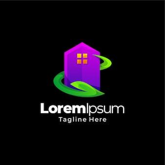 Modello gradiente logo immobiliare foglia