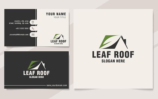 Modello logo tetto foglia su stile monogramma