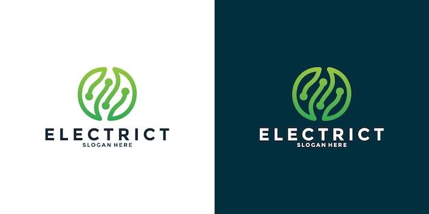 Tecnologia di progettazione del logo elettrico leaf tech per la tua azienda