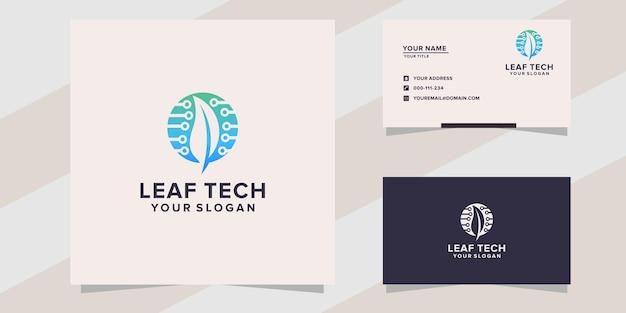 Modello logo foglia tecnologia