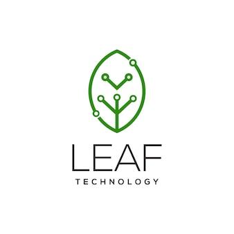 Illustrazione di arte della linea del logo della tecnologia delle foglie