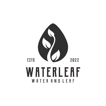 Foglia goccia d'acqua logo silhouette retrò vintage