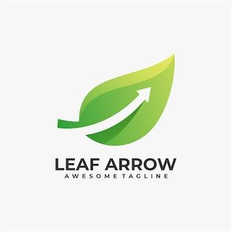 Foglia con modello di progettazione di logo astratto di freccia