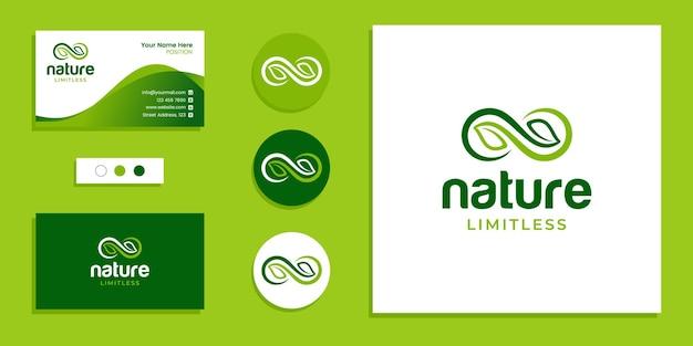 Foglia con simbolo dell'infinito, logo della natura senza limiti e modello di ispirazione per il design del biglietto da visita