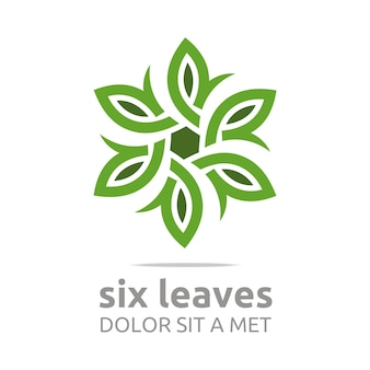 Leaf with natural ecology logo astratto