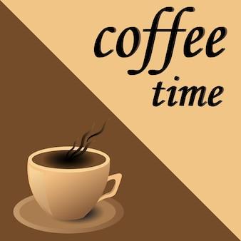 Volantino caffetteria, tazza di caffè in vettoriale eps