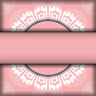Volantino in rosa con motivo greco bianco preparato per la tipografia.