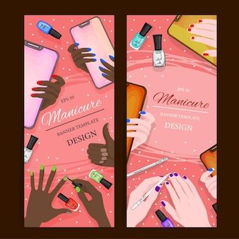 Volantini con manicure flatlay e prodotti cosmetici, modello per il testo. stile cartone animato. illustrazione vettoriale.
