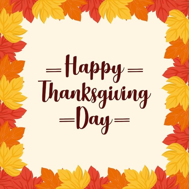 Cornice di foglie del giorno del ringraziamento