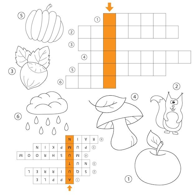 Impara l'inglese - gioco di parole autunnale per bambini. vettore. cruciverba per bambini. compito e risposta. libro da colorare per bambini in età prescolare e scolare