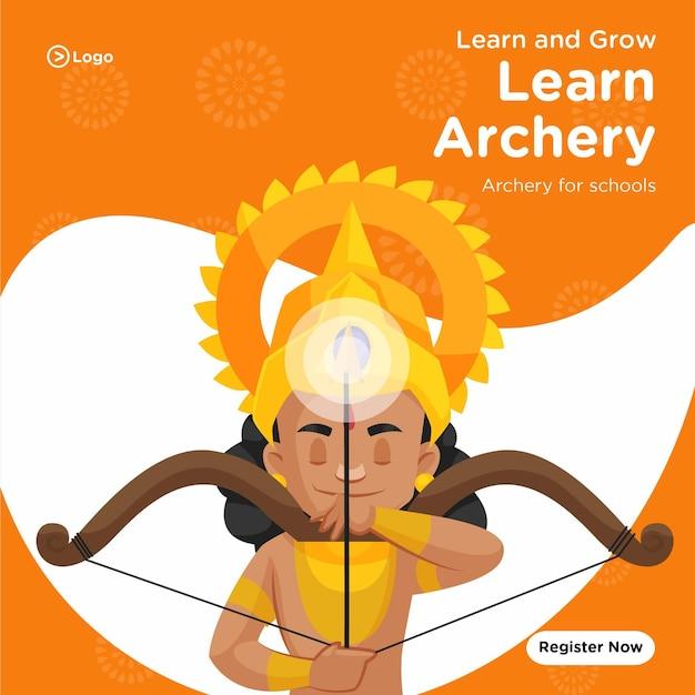 Impara e coltiva il tiro con l'arco per il modello di progettazione di banner scolastici