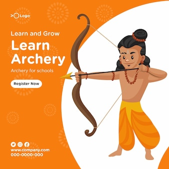 Impara e coltiva il tiro con l'arco per il modello di progettazione di banner per le scuole