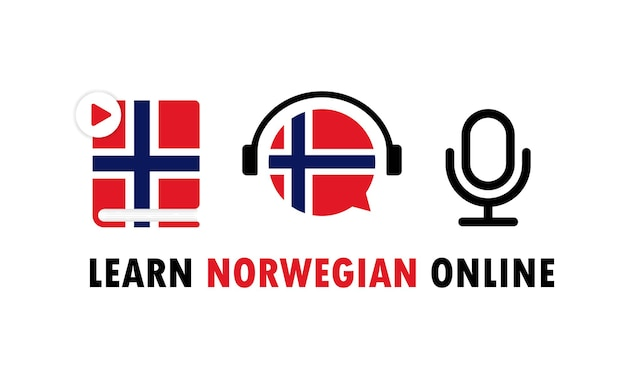 Impara il norvegese banner online. imparare una lingua straniera. formazione in linea. vettore env 10. isolato su priorità bassa bianca.