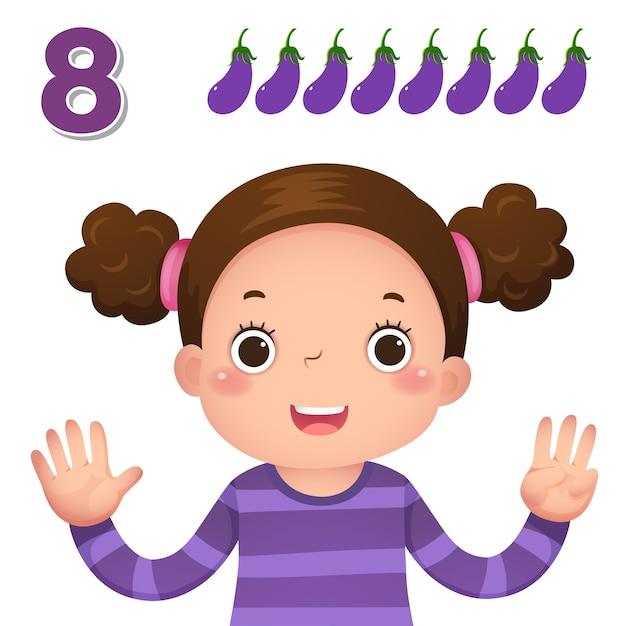 Impara il numero e il conteggio con la mano dei bambini che mostra il numero otto