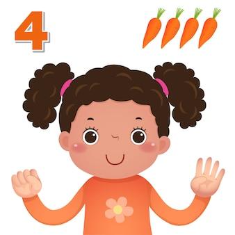 Impara il numero e il conteggio con la mano dei bambini che mostra il numero quattro