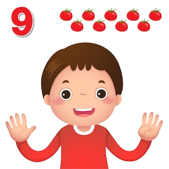 Impara il numero e il conteggio con la mano dei bambini che mostra il numero nove