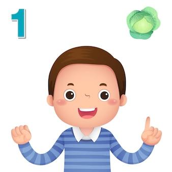Impara il numero e il conteggio con la mano dei bambini che mostra il numero uno