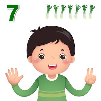 Impara il numero e il conteggio con la mano dei bambini che mostra il numero sette