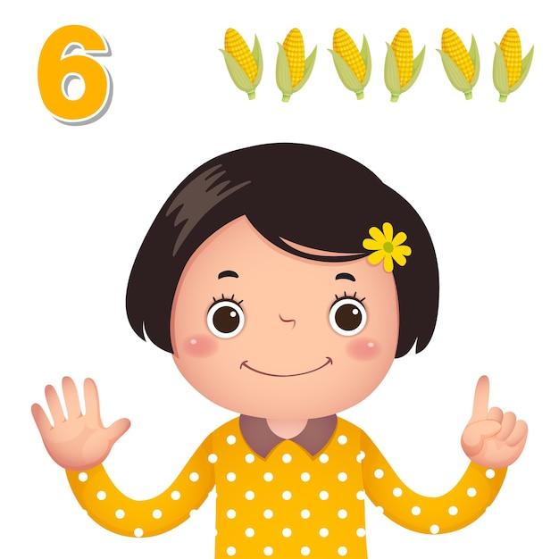 Impara il numero e il conteggio con la mano dei bambini che mostra il numero sei