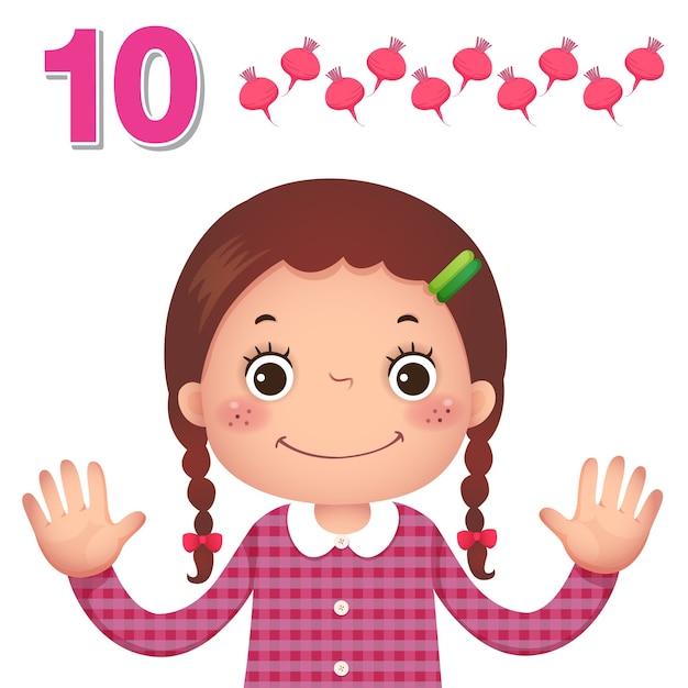 Impara il numero e il conteggio con la mano dei bambini che mostra il numero dieci