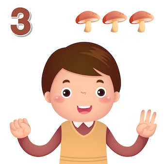 Impara il numero e il conteggio con la mano dei bambini che mostra il numero tre