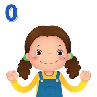 Impara il numero e il conteggio con la mano dei bambini che mostra il numero zero