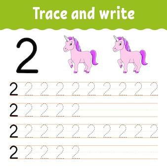 Impara i numeri traccia e scrivi la pratica della scrittura a mano