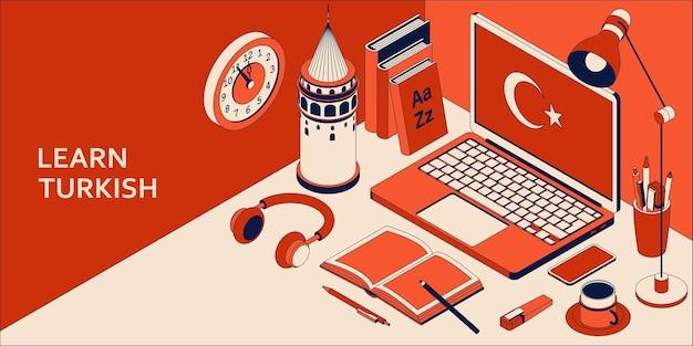 Impara il concetto isometrico di lingua turca con illustrazione del computer portatile aperto