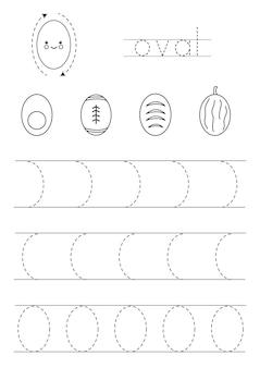 Imparare le forme geometriche di base per i bambini. ovale in bianco e nero.