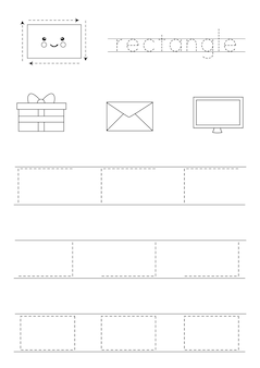 Imparare le forme geometriche di base per i bambini. rettangolo bianco e nero.
