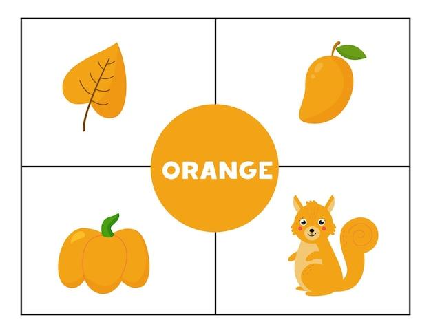 Imparare i colori primari di base per i bambini. arancia.