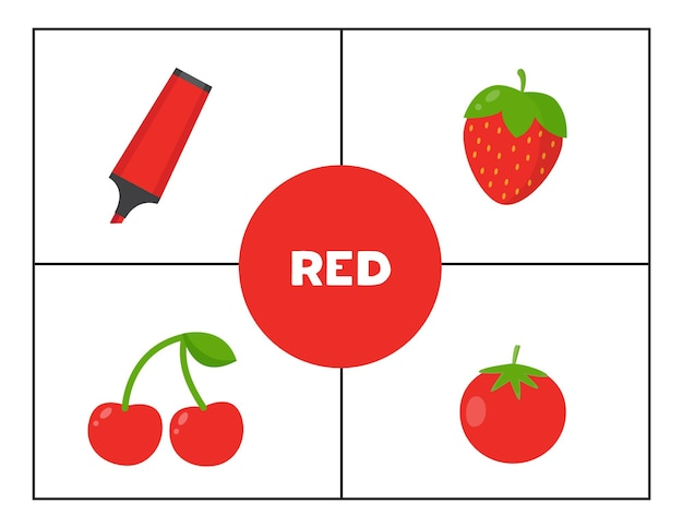 Imparare i colori primari di base per i bambini. rosso.