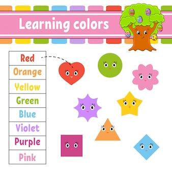 Colori di apprendimento. foglio di lavoro per lo sviluppo dell'istruzione. albero di uova di pasqua pagina delle attività con immagini.