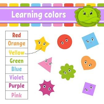 Imparare i colori. foglio di lavoro per lo sviluppo dell'istruzione.