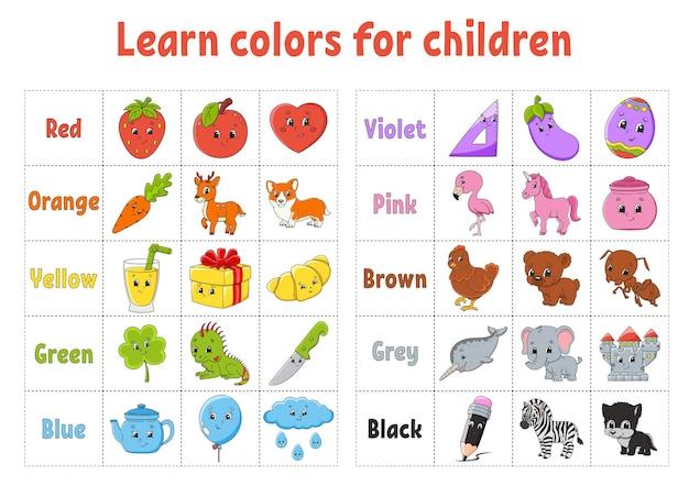 Colori di apprendimento flashcard per bambini simpatici personaggi dei cartoni animati