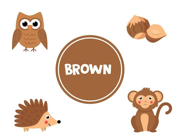 Imparare i colori per i bambini. colore marrone. diverse immagini in colore marrone. foglio di lavoro educativo per bambini. gioco di flashcard per bambini in età prescolare.