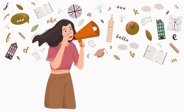 Imparare l'illustrazione vettoriale della lingua inglese apprendimento online delle lingue straniere dell'istruzione a distanza