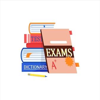 Imparare una lingua straniera test dizionario libri semplici icone grafiche per corsi e web