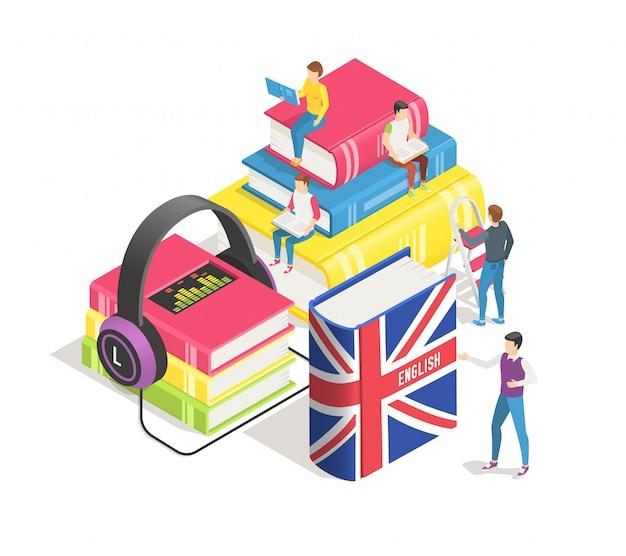 Apprendimento del concetto di lingue straniere. persone minuscole con dizionario inglese e libri