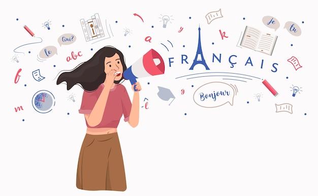 Imparare la lingua francese istruzione online studiare le lingue straniere illustrazione vettoriale piatta