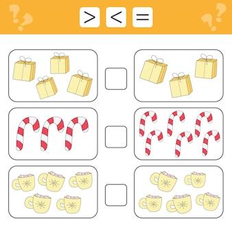 Imparare la matematica, i numeri: scegli di più, di meno o di uguale. compiti per l'aggiunta per bambini in età prescolare, foglio di lavoro per bambini. natale. i regali.