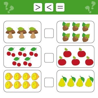Imparare la matematica, i numeri: scegli di più, di meno o di uguale. compiti per l'aggiunta per bambini in età prescolare, foglio di lavoro per bambini.