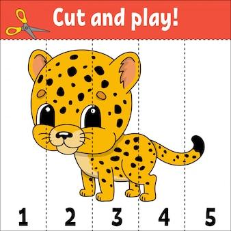 Numeri di apprendimento che tagliano ghepardo del foglio di lavoro